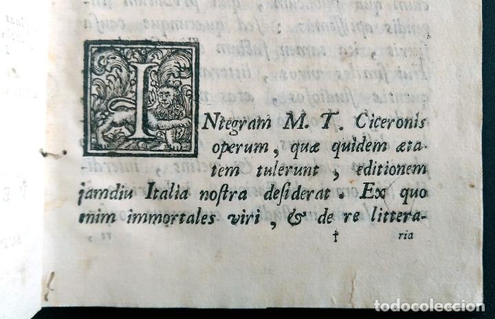Libros antiguos: Año 1731 Ciceronis Historia De Inventione Rhetoricorum Antigua Roma Venecia Cicerón - Foto 3 - 203813502