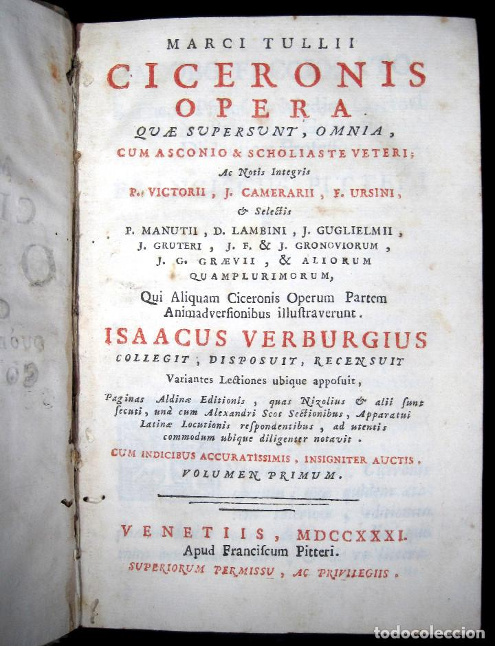 Libros antiguos: Año 1731 Ciceronis Historia De Inventione Rhetoricorum Antigua Roma Venecia Cicerón - Foto 5 - 203813502