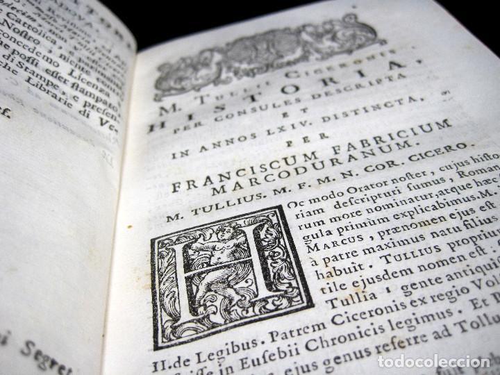 Libros antiguos: Año 1731 Ciceronis Historia De Inventione Rhetoricorum Antigua Roma Venecia Cicerón - Foto 11 - 203813502