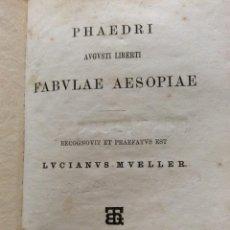 Libros antiguos: PHAEDRI AUGUSTI LIBERTI FABULAE AESOPIAE. PHAEDRUS.; LUCIAN MÜLLER, 1876. Lote 205234327