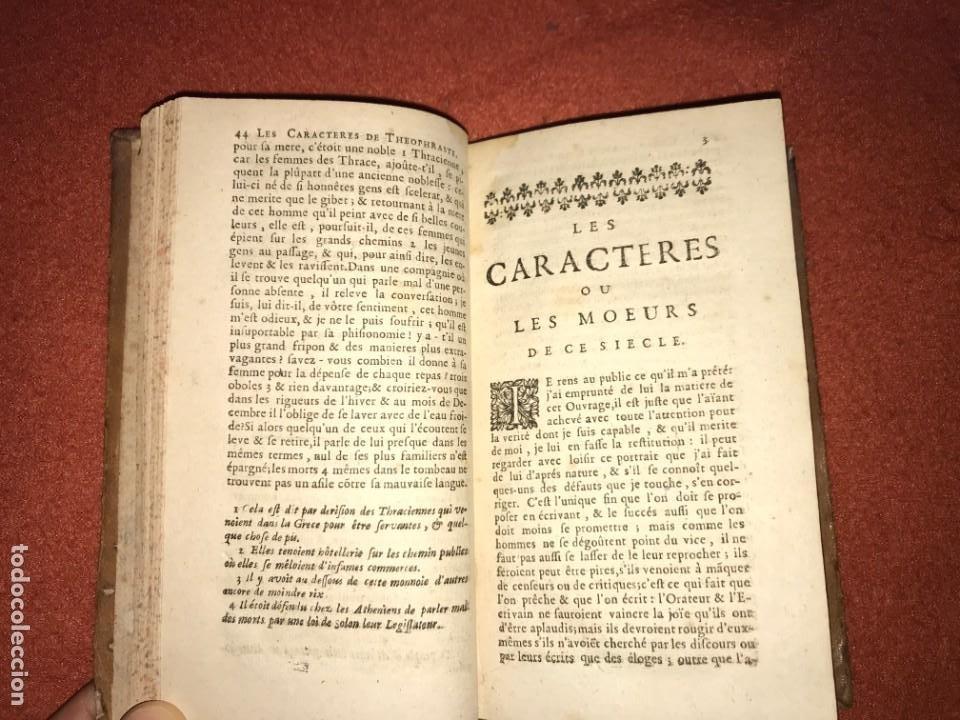Libros antiguos: Les Caracteres de Theophraste traduits du Grec, avec les caracteres ou les moeurs de ce siecle. 1707 - Foto 5 - 205851442