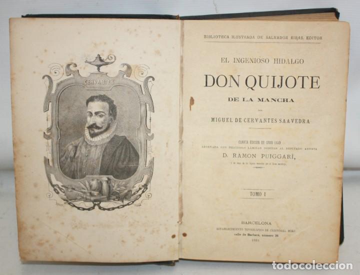 DON QUIJOTE DE LA MANCHA. CERVANTES. LAMINAS DE D. RAMON PUIGGARÍ. 4ª EDICIÓN (1881). SALVADOR RIBAS (Libros antiguos (hasta 1936), raros y curiosos - Literatura - Narrativa - Clásicos)