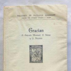 Libros antiguos: EL ORÁCULO MANUAL, EL HÉROE Y EL DISCRETO. BALTASAR GRACIÁN.. Lote 206496043