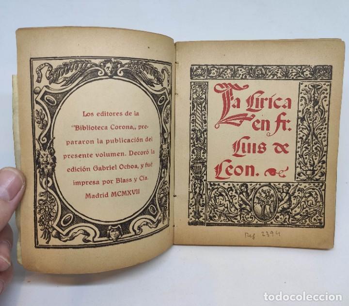 Libros antiguos: LIBROS DE HORAS. editorial CORONA : FRAY LUIS DE LEÓN (1917) - Foto 2 - 208600988