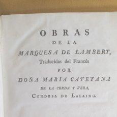 Libri antichi: OBRAS DE LA MARQUESA DE LAMBERT (1781). Lote 208931500