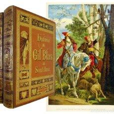 Libros antiguos: 1885 - MUY ILUSTRADO COLOR - HISTORIA DE GIL BLAS DE SANTILLANA (2 TOMOS GRAN FOLIO). Lote 211459989
