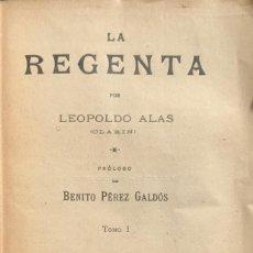 """Libros antiguos: LEOPOLDO ALAS (""""CLARÍN""""). LA REGENTA. 2 TOMOS. MADRID, 1901.. Lote 216654471"""