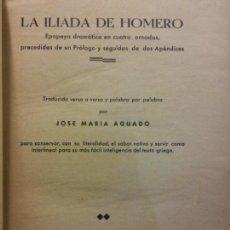 Libros antiguos: LA ILIADA DE HOMERO. TRADUCIDA VERSO A VERSO POR JOSÉ MARÍA AGUADO. LIBRERÍA GENERAL DE VICTORIANO. Lote 221679562