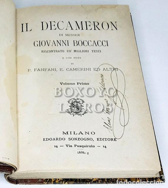 Libros antiguos: Il Decameron, di messer Giovanni Boccacci riscontrato co migliori testi e con note di P. Fanfani... - Foto 3 - 222069950