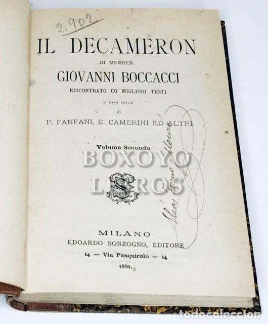 Libros antiguos: Il Decameron, di messer Giovanni Boccacci riscontrato co migliori testi e con note di P. Fanfani... - Foto 4 - 222069950