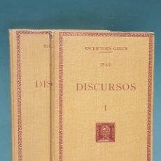 Libros antiguos: ESCRIPTORS GRECS ISEU DISCURSOS 2 TOMOS 1930-1931 FUNDACIÓ BERNAT METGE. Lote 222875332