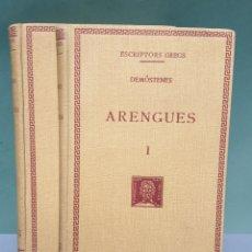 Libros antiguos: ESCRIPTORS GRECS DEMÓSTENES ARENGUES 2 TOMOS 1932 FUNDACIÓ BERNAT METGE. Lote 222876637