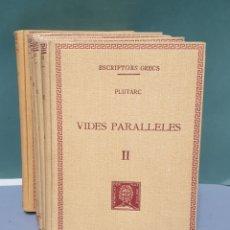 Libros antiguos: ESCRIPTORS GRECS PLUTARC VIDES PARALLELES 5 TOMOS 1926 A 1934 FUNDACIÓ BERNAT METGE. Lote 222877231