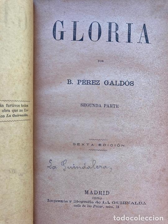 Libros antiguos: GLORIA - B. PEREZ GALDOS - 1886 - 2 TOMOS ENCUADERNADOS EN TAPA DURA - Foto 3 - 225104147