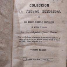 Libros antiguos: 1959. COLECCIÓN DE TROZOS ESCOGIDOS DE LOS MEJORES HABLISTAS CASTELLANOS EN PROSA Y VERSO. Lote 231904980