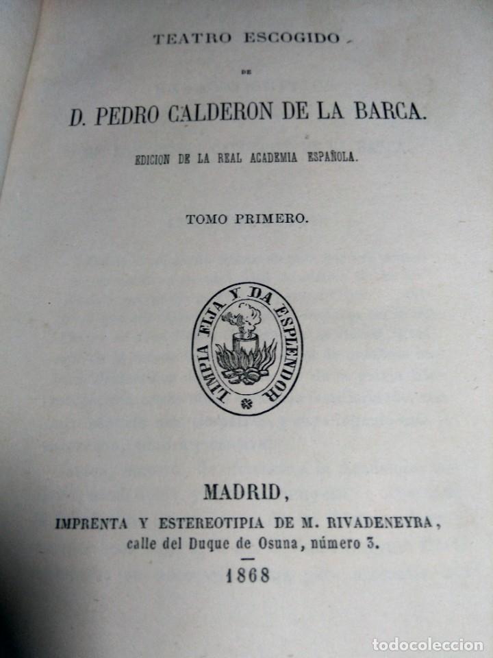 Libros antiguos: BIBLIOTECA SELECTA DE AUTORES CLÁSICOS ESPAÑOLES - CALDERÓN - TEATRO - I - 1868 - MEDIA PIEL - Foto 2 - 232513645