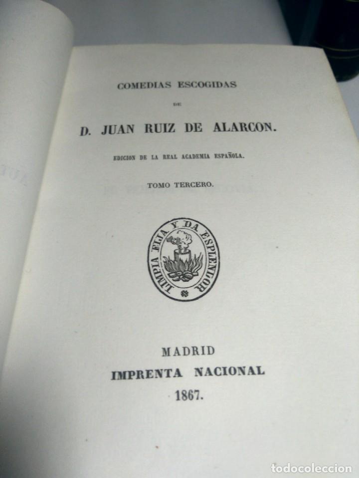 Libros antiguos: BIBLIOTECA SELECTA DE AUTORES CLÁSICOS ESPAÑOLES - ALARCÓN - COMEDIAS - III - 1867 - MEDIA PIEL - Foto 2 - 232514870