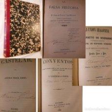 Libros antiguos: LA FALSA HISTORIA/ CASTELAR/LA UNION ARAGONESA/ EL AÑO 1870/ LA SOPA DE LOS CONVENTOS. 1868. Lote 235219215