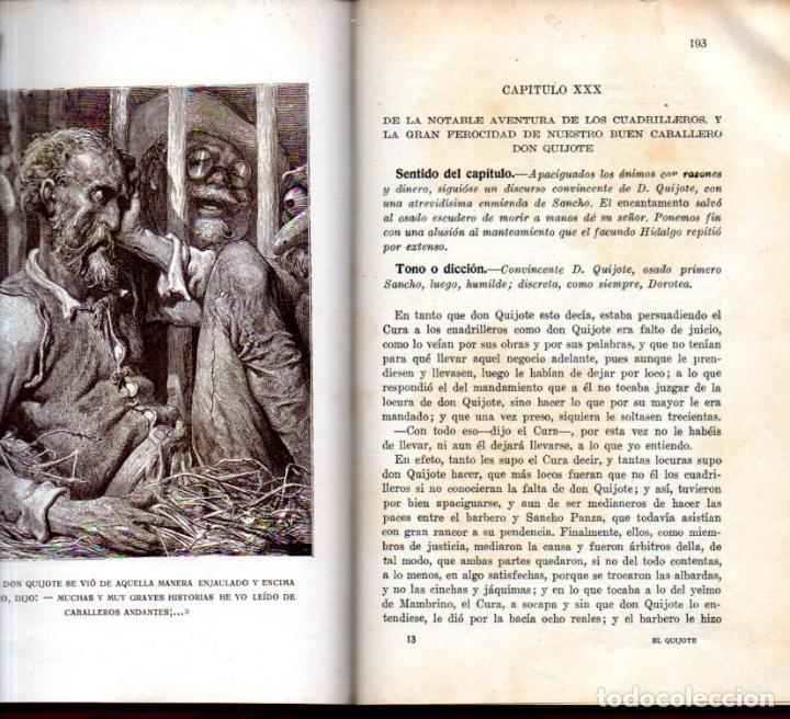 Libros antiguos: CERVANTES : EL QUIJOTE EDICIÓN ESCOLAR (F. T. D., 1932) ILUSTRADO CON VIÑETAS Y CON LÁMINAS DE DORÉ - Foto 3 - 236507410