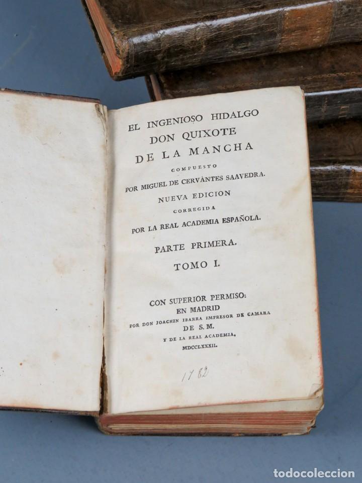 Libros antiguos: EL INGENIOSO HIDALGO DON QUIXOTE DE LA MANCHA-M. DE CERVANTES SAAVEDRA-4TOMOS-MADRID 1782 - Foto 3 - 236511435