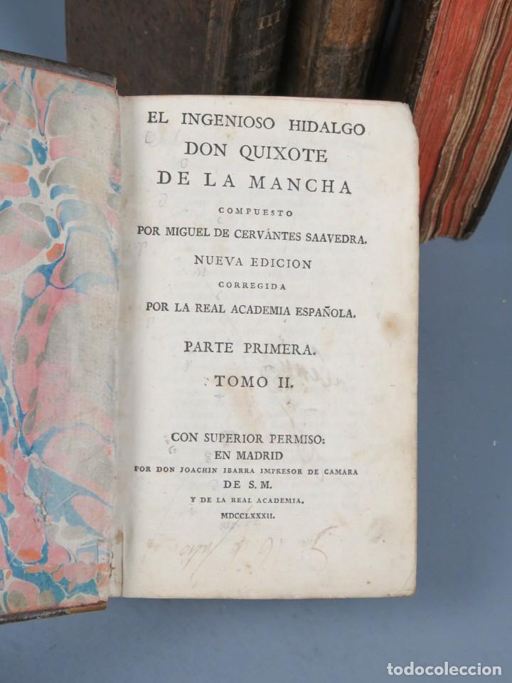 Libros antiguos: EL INGENIOSO HIDALGO DON QUIXOTE DE LA MANCHA-M. DE CERVANTES SAAVEDRA-4TOMOS-MADRID 1782 - Foto 13 - 236511435