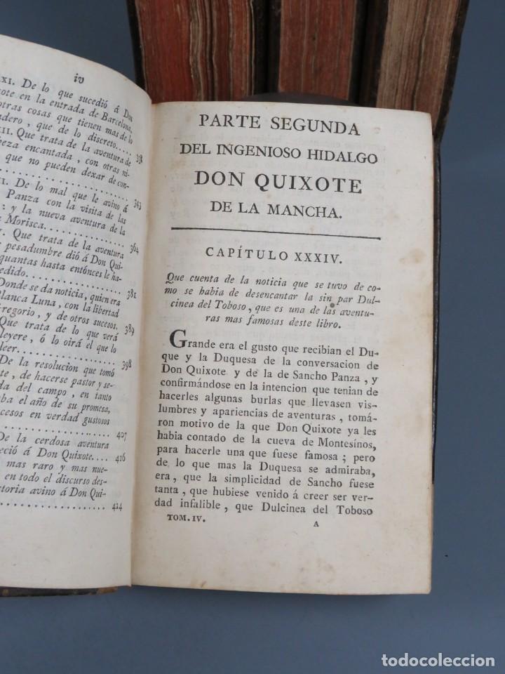 Libros antiguos: EL INGENIOSO HIDALGO DON QUIXOTE DE LA MANCHA-M. DE CERVANTES SAAVEDRA-4TOMOS-MADRID 1782 - Foto 23 - 236511435