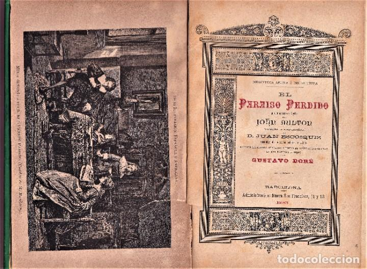 Libros antiguos: EL PARAÍSO PERDIDO - JOHN MILTON - ILUSTRADO POR GUSTAVO DORÉ - 1883 - Foto 2 - 240159875