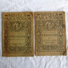 Libros antiguos: 2 EJEMPLARES DE NOVELA PARA TODOS, TOMO 1 + 2, 1916, CERVANTES. Lote 243860095