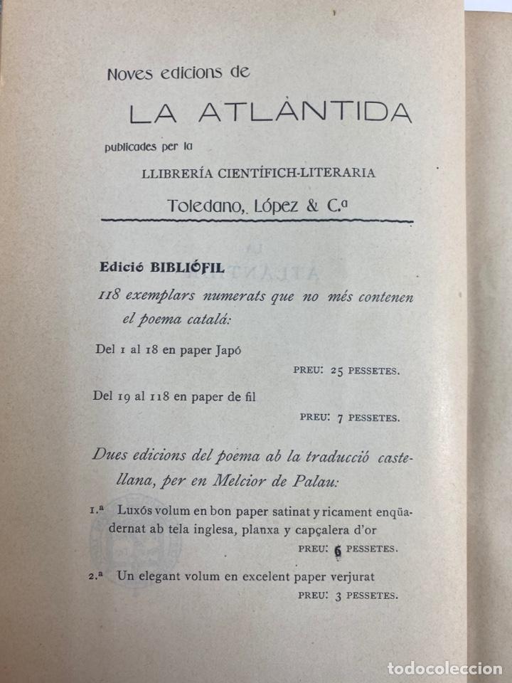 Libros antiguos: L-5486. LA ATLANTIDA, J.VERDAGUER. TRADUCCIO CASTELLANA PER MELCIOR DE PALAU. 1905. - Foto 4 - 244176120