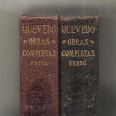 Libros antiguos: OBRAS COMPLETAS DE DON FRANCISCO DE QUEVEDO VILLEGAS 2 TOMOS AGUILAR 1932. Lote 244613460