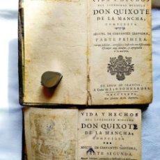 Libros antiguos: 1736 - CERVANTES: DON QUIJOTE - I Y II PARTE - ED. BONNARDEL, LYON.. Lote 246294955