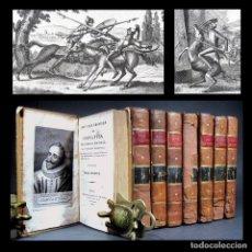 Libros antiguos: AÑO 1807 – 1808 QUIJOTE PRIMERA EDICIÓN ILUSTRADA POR DUSAULCHOY COMPLETA EN 8V CERVANTES GRABADOS. Lote 246596375
