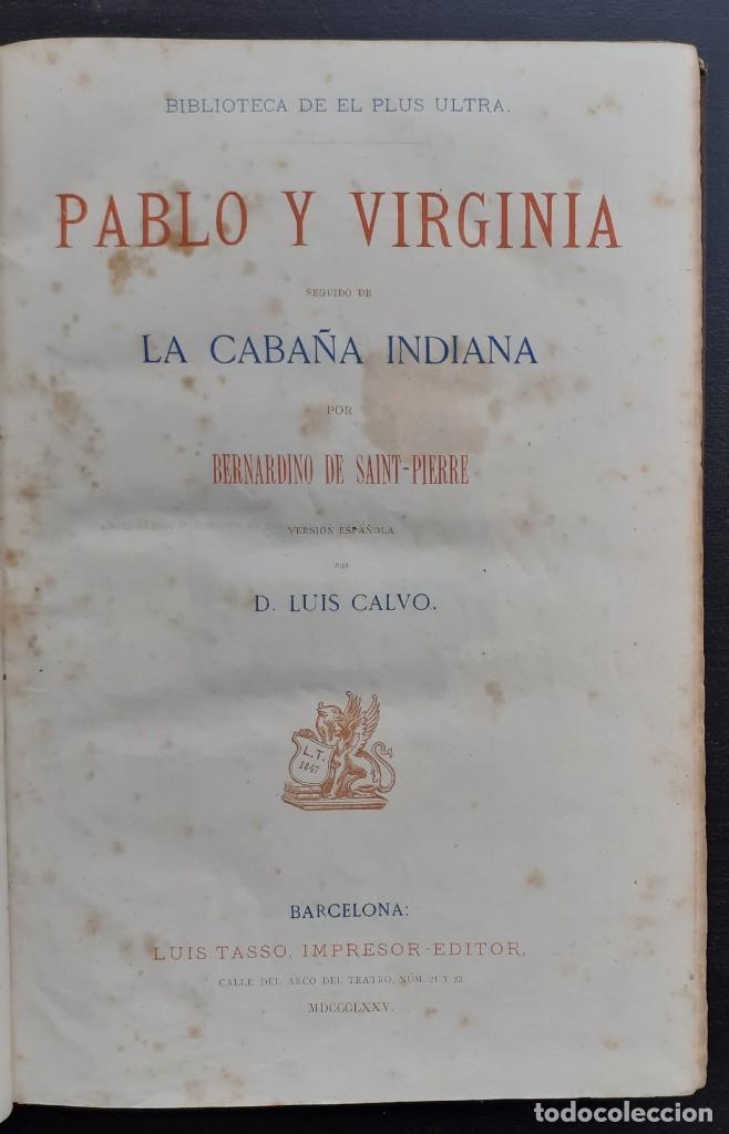 Libros antiguos: 1875 - Bernardino de Saint-Pierre: Pablo y Virginia + Novelas de Gustavo Aimard - Grabados - Piel - Foto 4 - 263229370