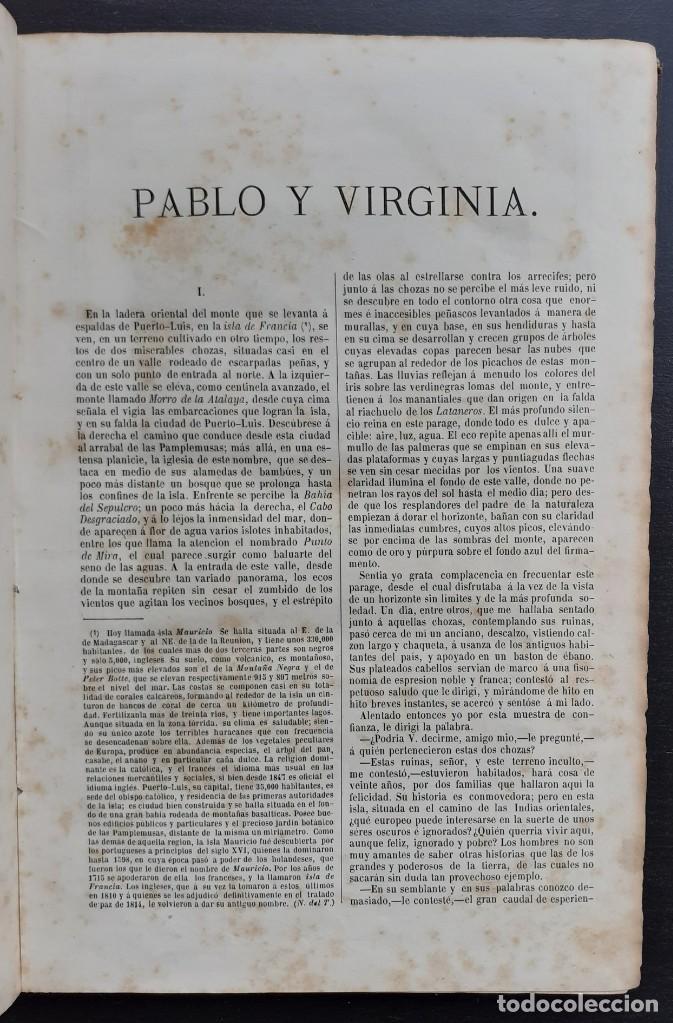 Libros antiguos: 1875 - Bernardino de Saint-Pierre: Pablo y Virginia + Novelas de Gustavo Aimard - Grabados - Piel - Foto 7 - 263229370