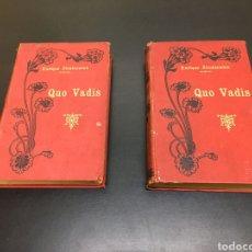 Libros antiguos: DOS ANTIGUOS TOMOS QUO VADIS DE ENRIQUE SIENKIEWIEZ, NARRACIÓN DE LA ÉPOCA DE NERÓN. 1902. Lote 261264620