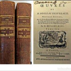 Libros antiguos: AÑO 1747: OBRAS DE BOILEAU DESPRÉAUX. 2 TOMOS DEL SIGLO XVIII.. Lote 254050295