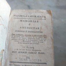 Libros antiguos: VOZ DE LA NATURALEZA. TOMO 6. IGNACIO GARCÍA MALO. BARCELONA 1799. Lote 254254010