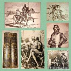 Libros antiguos: DON QUIJOTE DE LA MANCHA - 26 CM - 800 GRABADOS - ILUSTRADO POR TONY JOHANNOT - AÑO 1840 - COMPLETO. Lote 254290415