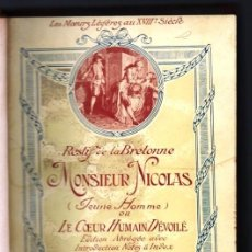 Libros antiguos: 1900 ? LES MOEURS LEGERES AU XVIII SIECLE RESTIF DE LA BRETONNE MONSIEUR NICOLAS JOHN GRAND CARTERET. Lote 254645950