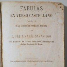 Libros antiguos: SAMANIEGO, FÉLIX M. - FÁBULAS EN VERSO CASTELLANO. PARA USO DE LAS ESCUELAS... - BARCELONA 1868 - MU. Lote 261223355