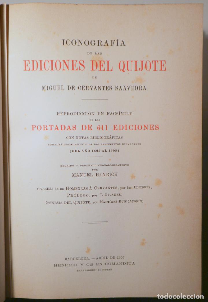 CERVANTES, MIGUEL DE - ICONOGRAFÍA DE LAS EDICIONES DEL QUIJOTE - CASTELLANAS Y CATALANAS - BARCELO (Libros antiguos (hasta 1936), raros y curiosos - Literatura - Narrativa - Clásicos)