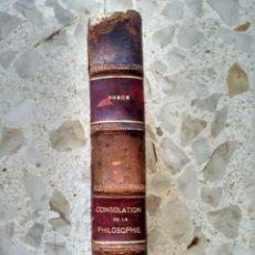Libros antiguos: CONSOLATION DE LA PHILOSOPHIE - BOECE - ANTIQVA, 1929 - MEDIA PIEL. Lote 261282095