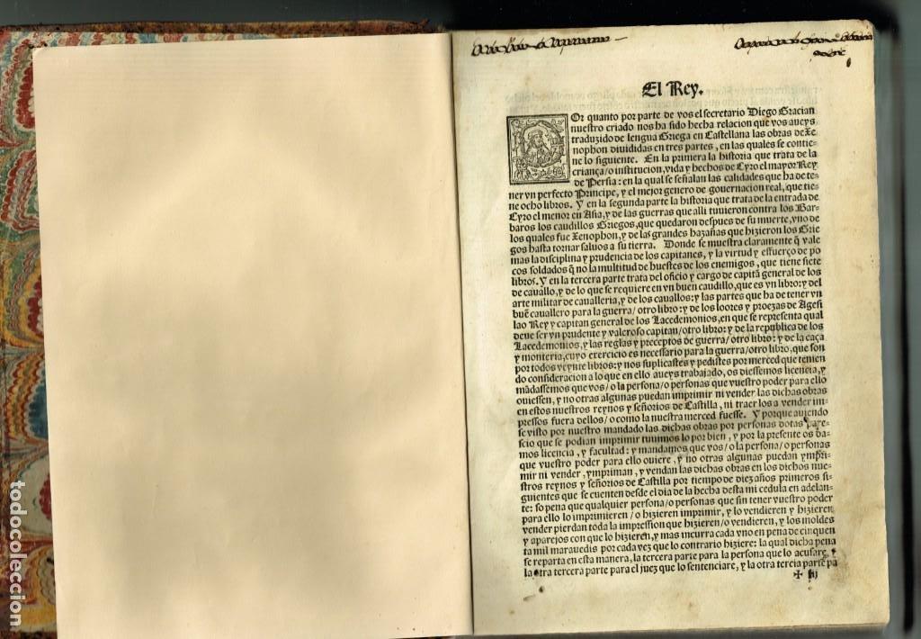 Libros antiguos: LAS OBRAS DE XENOPHON TRASLADADA DEL GRIEGO AL CASTELLANO DIEGO GRACIAN JUAN DE JUNTA SALAMANCA 1552 - Foto 2 - 265105989
