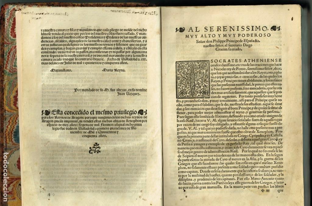 Libros antiguos: LAS OBRAS DE XENOPHON TRASLADADA DEL GRIEGO AL CASTELLANO DIEGO GRACIAN JUAN DE JUNTA SALAMANCA 1552 - Foto 3 - 265105989