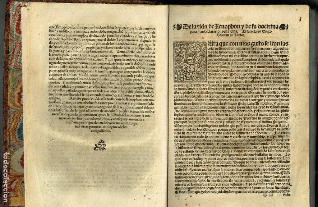 Libros antiguos: LAS OBRAS DE XENOPHON TRASLADADA DEL GRIEGO AL CASTELLANO DIEGO GRACIAN JUAN DE JUNTA SALAMANCA 1552 - Foto 8 - 265105989