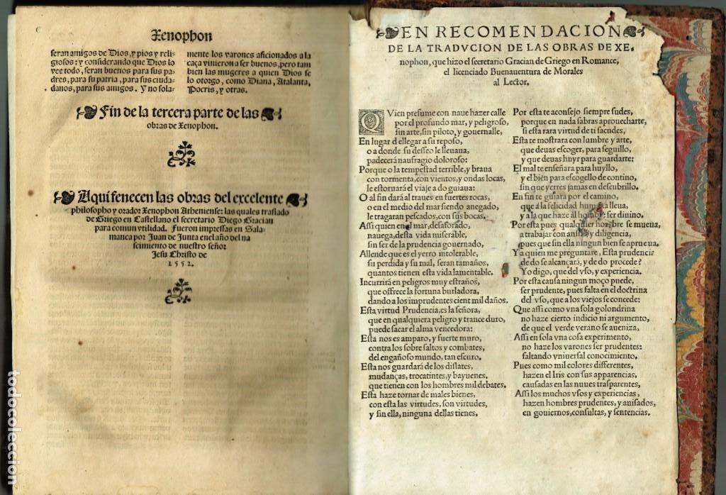 Libros antiguos: LAS OBRAS DE XENOPHON TRASLADADA DEL GRIEGO AL CASTELLANO DIEGO GRACIAN JUAN DE JUNTA SALAMANCA 1552 - Foto 9 - 265105989