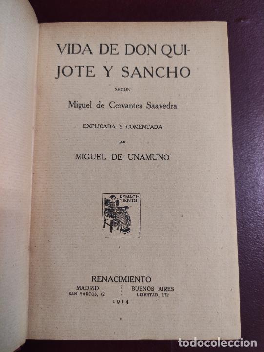 MIGUEL DE UNAMUNO -VIDA DE DON QUIJOTE Y SANCHO SEGÚN MIGUEL DE CERVANTES SAAVEDRA 1914 468P 18X12 (Libros antiguos (hasta 1936), raros y curiosos - Literatura - Narrativa - Clásicos)