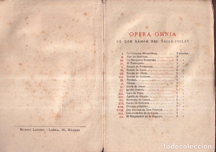 Libros antiguos: SONATA DE PRIMAVERA, MEMORIAS DEL MARQUÉS DE BRADOMIN - RAMÓN VALLE INCLÁN - OPERA OMNIA V 1922 - Foto 3 - 269771463