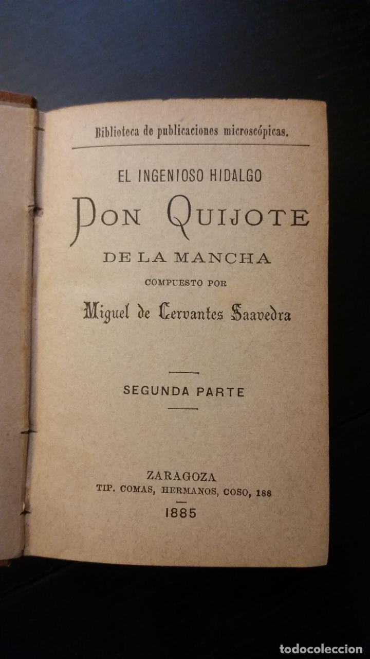 Libros antiguos: 1885 - CERVANTES - DON QUIJOTE DE LA MANCHA - SEGUNDA PARTE 2 TOMOS, ZARAGOZA, RARO - Foto 5 - 270133918