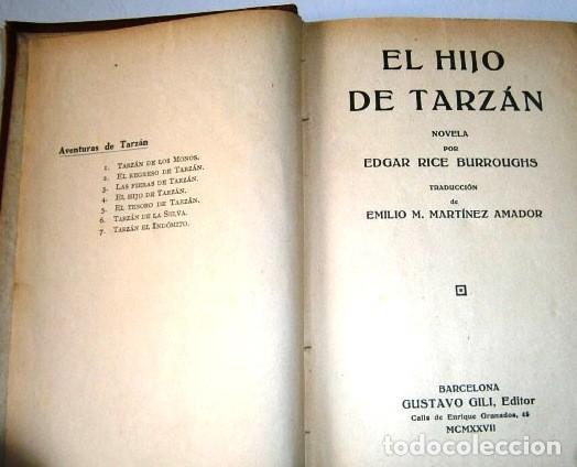 Libros antiguos: Aventuras de Tarzán 8T por Edgar Rice Burroughs de Ed. Gustavo Gili en Barcelona 1927-1929 - Foto 3 - 269475343